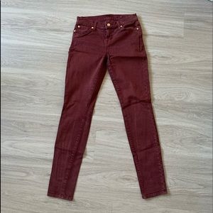 7 FOR ALL MANKIND BURGUNDY MID RISE SKINNY JEANS